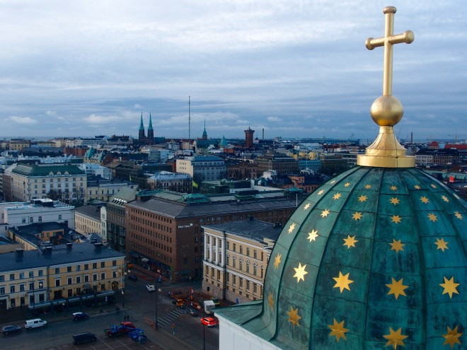 View toward St. John's church. If it weren't for Nordea bank's headquarter building, built in 1936, in the corner of Unioninkatu and Aleksanterinkatu, the Senate Square together with its surrounding buildings, would be a Unesco World Heritage site.